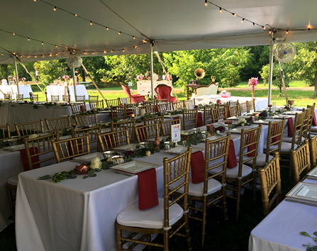 Outdoor tent reception